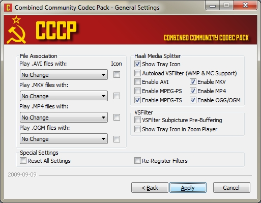 CCCP (Combined Community Codec Pack 2014-04-20)